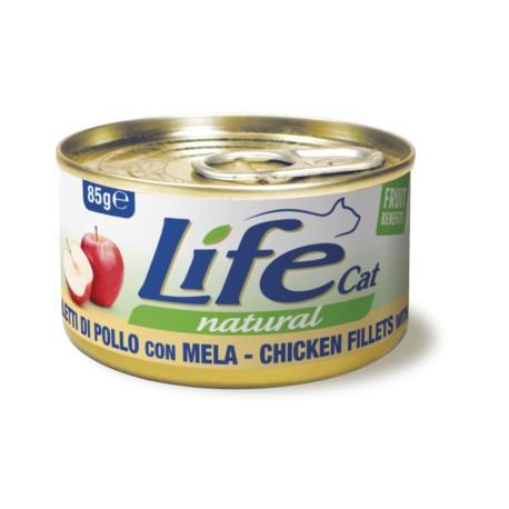 Life cat filetti di pollo con mela per gatti adulti lattina da 85 gr